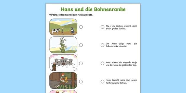 Jack and the Beanstalk German Activity Sheet Pack, worksheet