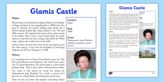 Glamis Castle Information Sheet - First Level, Social Studies, Scottish history, Scottish Castles