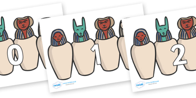 Numbers 0-31 on Egyptian Jars - 0-31, foundation stage numeracy, Number recognition, Number flashcards, counting, number frieze, Display numbers, number posters