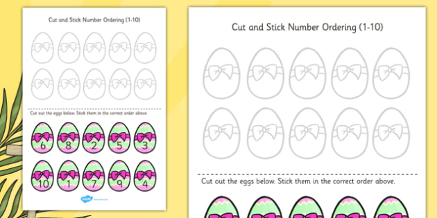 Easter Themed Cut and Stick Number Ordering Easter Egg Activity