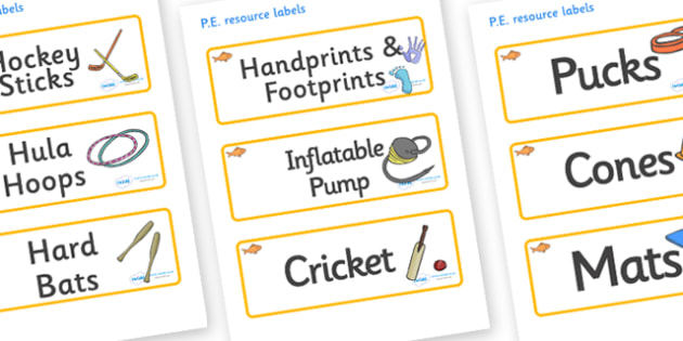 Goldfish Themed Editable PE Resource Labels - Themed PE label, PE equipment, PE, physical education, PE cupboard, PE, physical development, quoits, cones, bats, balls, Resource Label, Editable Labels, KS1 Labels, Foundation Labels, Foundation Stage L
