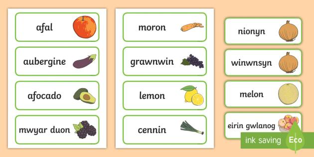 Siop Chwarae Rôl Ffrwythau a LLysiau Cardiau Fflach Geiriau - afal, apple, nionyn, onion, winwnsyn, oren, orange, broccoli, broccoli, afocado, avocado, cauliflowe