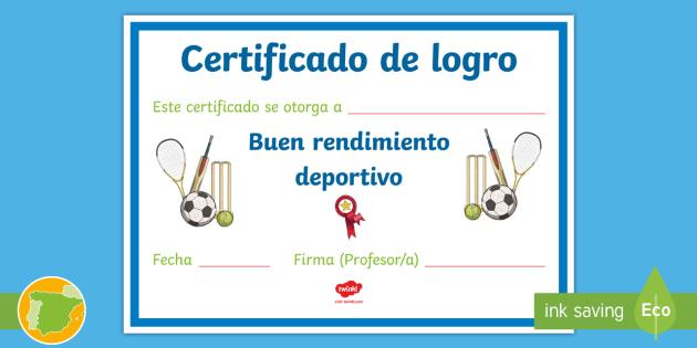 de logro por buen rendimiento deportivo Certificado - Diplomas y premios,Spanish