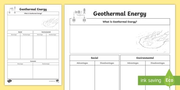 Geothermal Energy Research Worksheet - ACSSU097, thermal ...
