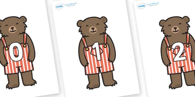 Numbers 0-100 on Little Bear - 0-100, foundation stage numeracy, Number recognition, Number flashcards, counting, number frieze, Display numbers, number posters