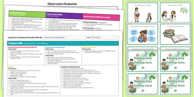 Reading Area Editable Continuous Provision Plan and Challenge Cards Pack Nursery FS1