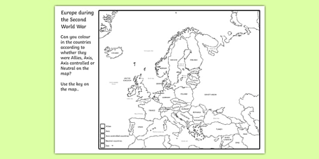 Europe during the Second World War - Areas of Influence by 1941 Colouring Map - world war two, ww2, world war II, world war 2 worksheet, world war 2 colouring worksheet, world war 2 allies axis or neautral