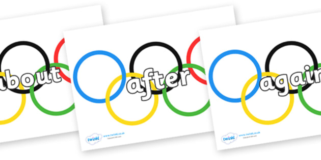 KS1 Keywords on Olympic Rings - KS1, CLL, Communication language and literacy, Display, Key words, high frequency words, foundation stage literacy, DfES Letters and Sounds, Letters and Sounds, spelling