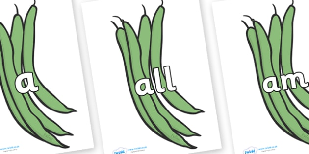 Foundation Stage 2 Keywords on Green Beans - FS2, CLL, keywords, Communication language and literacy,  Display, Key words, high frequency words, foundation stage literacy, DfES Letters and Sounds, Letters and Sounds, spelling