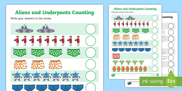 Counting Sheet to Support Teaching on Aliens Love Underpants