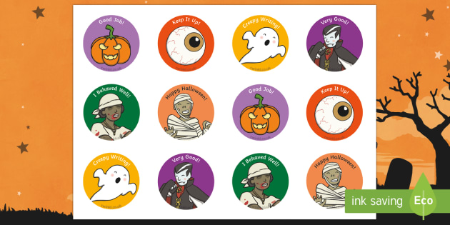 Halloween Stickers - halloween stickers, halloween, hallows eve, hallowe'en, samhain, stickers, scary, spooky, themed, well done, reward, award