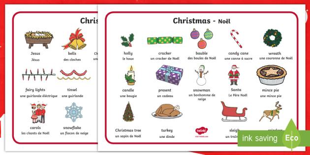 Christmas In French.Christmas Word Mat English French Christmas Xmas Word