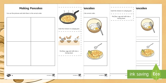 pancake recipe instructions differentiated worksheet activity. Black Bedroom Furniture Sets. Home Design Ideas