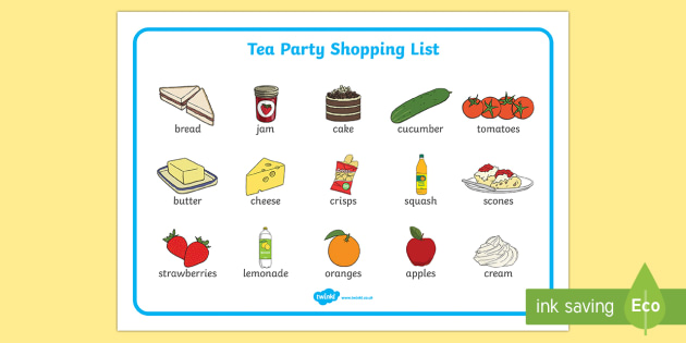 Tea Party Shopping List Word Mat - tea party, shopping list, shopping, list, word mat, visual aid