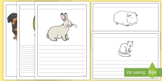 Pet-Themed Writing Frames - Pets, cat, dogs, rabbits, budgie