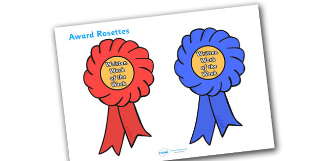 Written Work Of The Week Award Rosette - written work of the week award rosette, work of the week, work, week, written, rosette, rosettes, certificates, award, well done, reward, medal, rewards, school, general, certificate, achievement