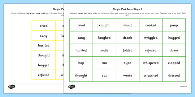Simple Past Tense Bingo - past, tense, bingo, game, simple, activity