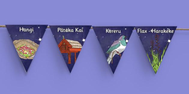 Matariki Vocabulary Bunting - nz, new zealand, matariki, vocabulary, bunting, display bunting, display
