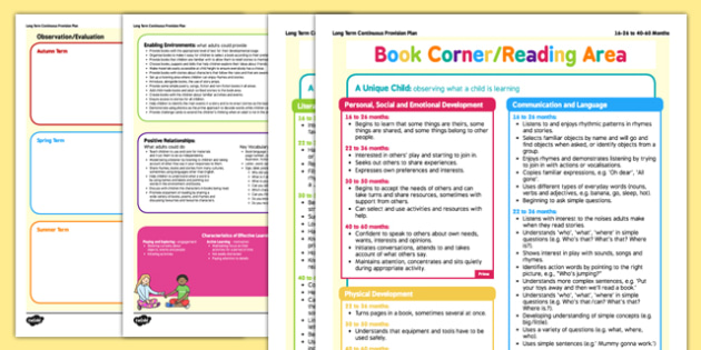 Book Corner or Reading Area Continuous Provision Plan Posters 16-26 to 40-60 Months - EYFS planning, early years planning, long term plan