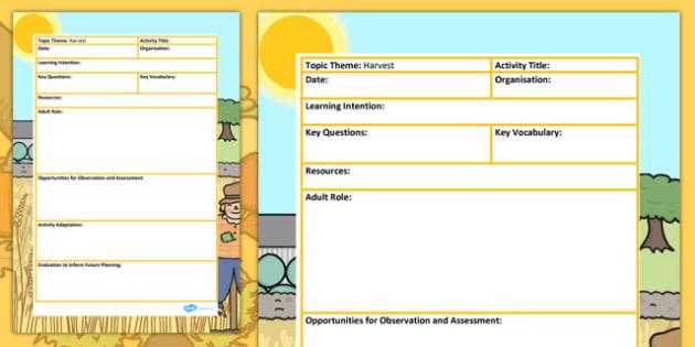Harvest Themed Adult Led Focus Planning Template - autumn, plans
