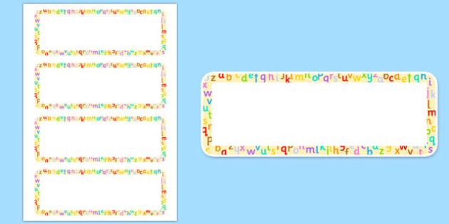 Alphabet Themed Name Label Cards - alphabet, name, label, cards, display