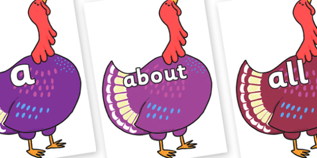 100 High Frequency Words on Hullabaloo Turkey to Support Teaching on Farmyard Hullabaloo - High frequency words, hfw, DfES Letters and Sounds, Letters and Sounds, display words
