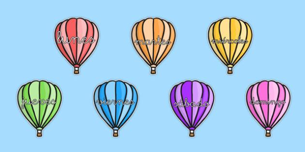 Globos aerostáticos de los días de la semana en DIN A4 - calendario, decorción