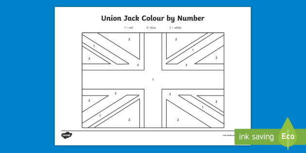 NEW Union Jack Flag Colour By Number Activity Sheets