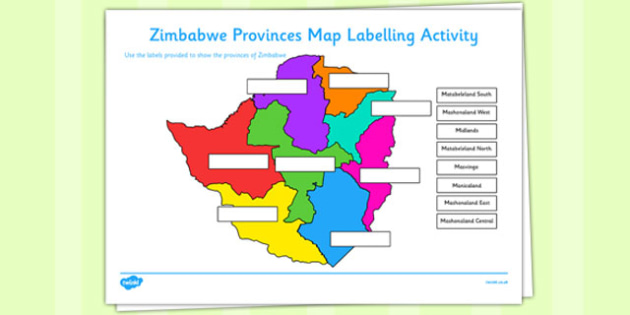 Zimbabwe Provinces Map Labelling Activity -africa, geography, ks2, ks1, culture, topic, information, display,