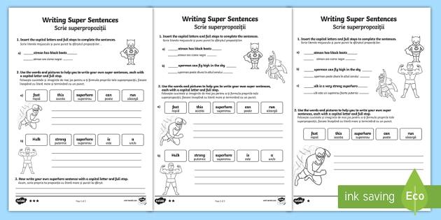 Writing Super Sentences Differentiated Worksheet / Worksheets