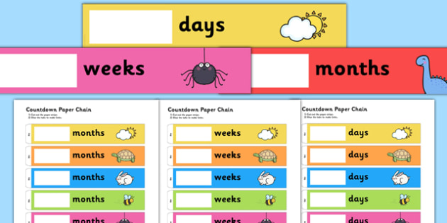 Countdown Paper Chain - countdown, paper chain, paper, chain, count, down, activity