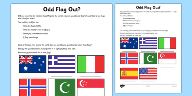 Odd Flag Out Quadrilateral Recognition Worksheet / Activity Sheet - flag, nepal, quadrilateral, worksheet