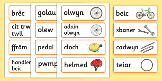 Bicycle Shop Word Cards (Welsh) - Welsh, Wales, bicycle, foundation, word cards, flashcards, cards, bike, shop, repair, poster, languages, cymru