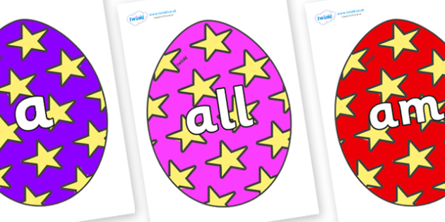 Foundation Stage 2 Keywords on Easter Eggs (Stars) - FS2, CLL, keywords, Communication language and literacy,  Display, Key words, high frequency words, foundation stage literacy, DfES Letters and Sounds, Letters and Sounds, spelling