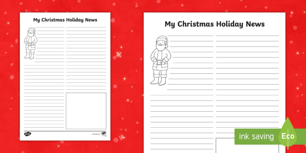 christmas holiday news worksheet worksheet santa ks1 writing literacy. Black Bedroom Furniture Sets. Home Design Ideas