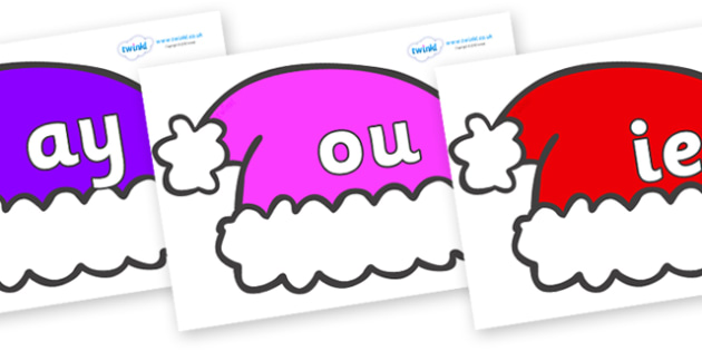 Phase 5 Phonemes on Santa Hats - Phonemes, phoneme, Phase 5, Phase five, Foundation, Literacy, Letters and Sounds, DfES, display