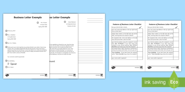 Formal Letter Template Resource Letter Template Australia