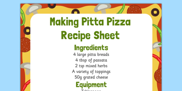 Making Pitta Pizza Recipe EYFS Recipe Sheet - EYFS planning, Early years activities, traditional tales, food