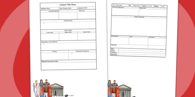 Roman Themed Editable Individual Lesson Plan Template Plans