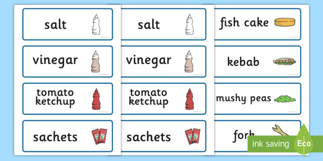 Fish And Chip Shop Role Play Word Cards - Fish and Chip, shop, word card, flashcards, cards, fast food, chip butty, food, eating, English, haddock, cod, mushy peas