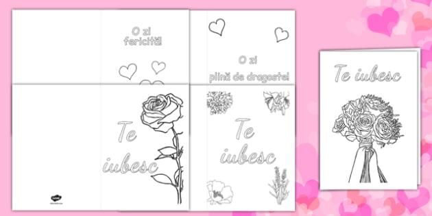Ziua îndrăgostiților - Felicitari pentru colorat - ziua îndrăgostiților, Valentine's Day, felicitare, colorat, dăruit, materiale, materiale didactice, română, romana, material, material didactic