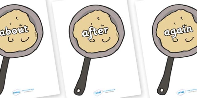 KS1 Keywords on Pancakes - KS1, CLL, Communication language and literacy, Display, Key words, high frequency words, foundation stage literacy, DfES Letters and Sounds, Letters and Sounds, spelling