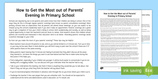 Making the Most of Primary School Parents' Evenings Parent and Carer Information Sheet - parents, advice, schools, primary, parents evening