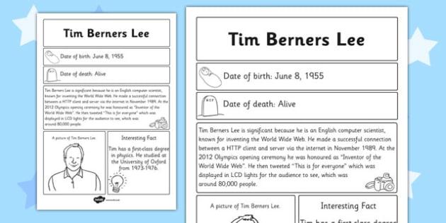 Tim Berners Lee Significant Individual Fact Sheet - fact sheet