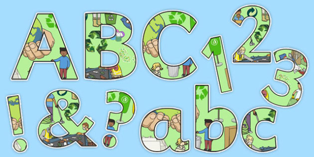 Recycling Themed A4 Display Lettering - recycle, environment, eco