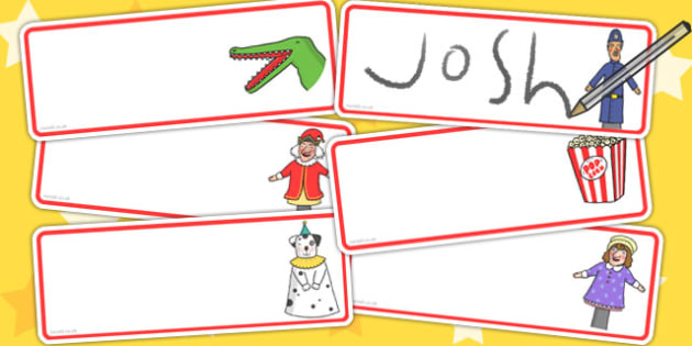 Punch and Judy Editable Drawer Peg Name Labels - name tags, signs