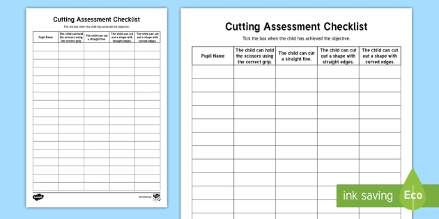 Cutting Assessment Checklist - Back to School, Junior