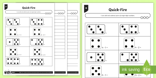 Quick-Fire! Instant Recall Differentiated Activity Sheets - Addition and Subtraction, nearby fact, inverse, instant recall, add, subtract, plus, minus, take awa