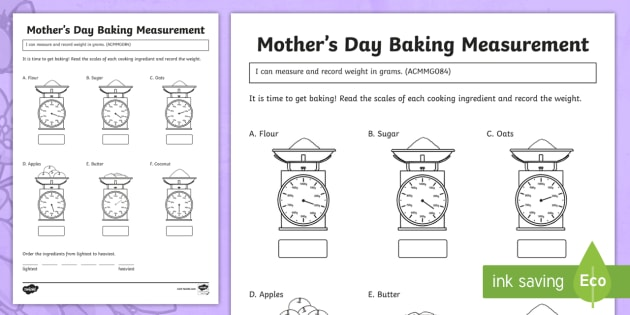 Mother S Day Baking Measurement Worksheet Activity Sheet
