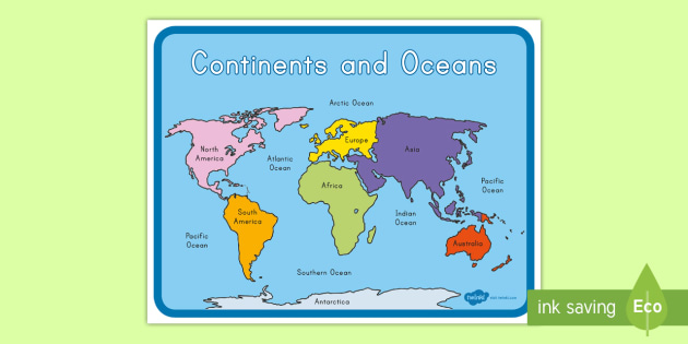New Continents And Oceans Map Asia Africa Australia Europe North